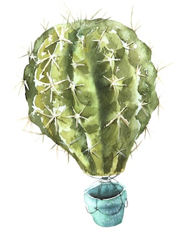 Kaktus-luftballon-aquarell