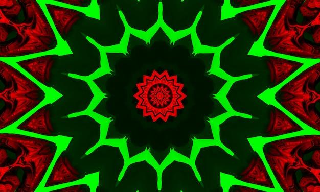 Kaleidoskop in den weihnachtsfarben rot und grün. frohe weihnachten 2022-muster.