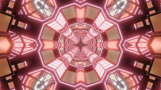 Kaleidoskopische 3d-darstellung des abstrakten hintergrunds mit geometrischem tunnel, der mit orange kristallen beleuchtet wird