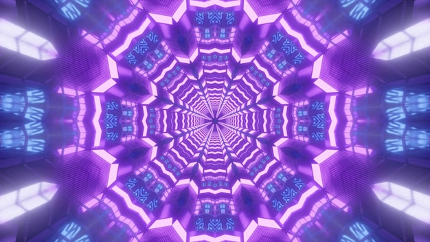 Kaleidoskopische 3d-illustration von hellvioletten kristallen, die glänzen und abstrakte fraktale verzierung bilden