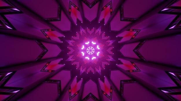 Kaleidoskopische abstrakte dreidimensionale darstellung des sphärischen wiederholungsmusters der purpurnen farbe des mandalas