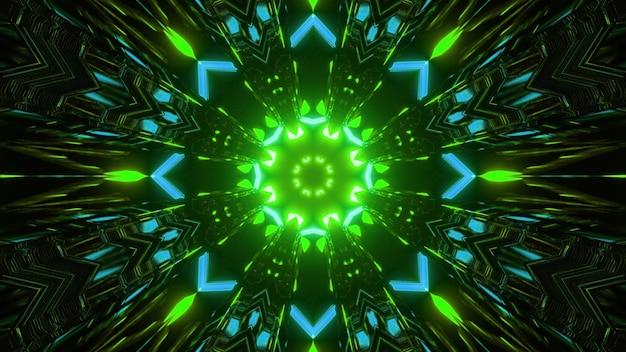 Kaleidoskopische geometrische dreidimensionale darstellung des abstrakten symmetrischen mandalamusters von leuchtend blauen und grünen farben