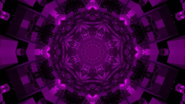 Kaleidoskopische mandala 3d illustration von lila zierkreisen, die sphärische abstraktion auf schwarzem hintergrund bilden