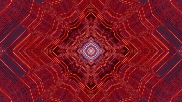 Kaleidoskopischer abstrakter hintergrund der 3d-illustration mit rotem neon-symmetrischem musterdesign, das optische täuschung des endlosen futuristischen tunnels schafft