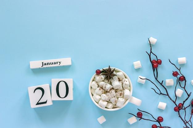 Kalender 20. januar tasse kakao, marshmallows und zweigbeeren