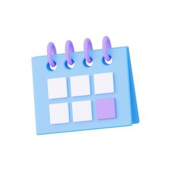 Kalender isoliert auf weißem hintergrund 3d-rendering