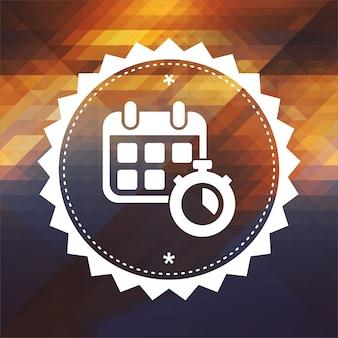 Kalender mit stoppuhr. retro-etikettendesign. hipster hintergrund aus dreiecken, farbfluss-effekt.