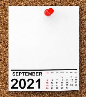 Kalender september 2021 auf leerem notizpapier mit freiem platz für ihren text. 3d-rendering