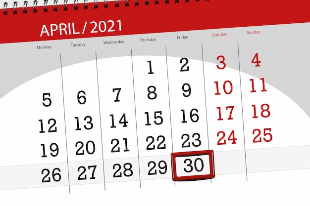 Kalenderplaner für den monat april 2021, stichtag, 30, freitag.