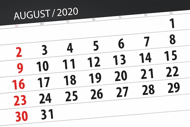 Kalenderplaner für den monat august 2020, stichtag