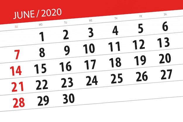 Kalenderplaner für den monat juni