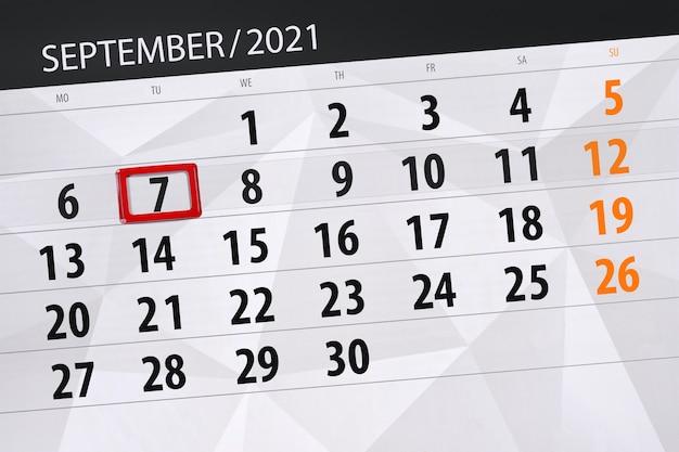 Kalenderplaner für den monat september 2021, stichtag, 7. dienstag.