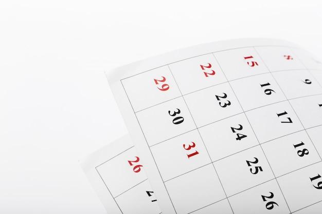Kalenderseiten schließen herauf geschäftszeit