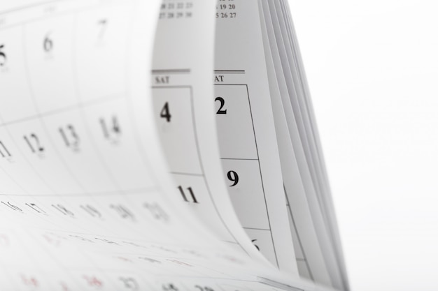 Kalenderseiten schließen herauf geschäftszeitkonzept