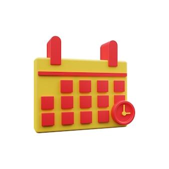 Kalendersymbol 3d isoliert auf weiss. 3d-kalendersymbol. 3d-rendering-darstellung des kalenders. 3d-kalendersymbol isoliert auf weiß