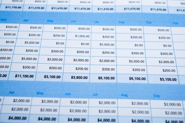 Kalkulationstabellenpapier finanzentwicklung, konto, statistik investment analytic.