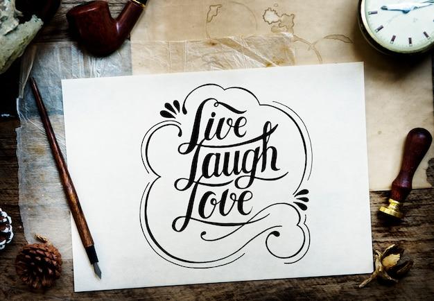 Kalligraphie auf einem weißen blatt papier