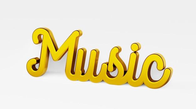Kalligraphische phrase der illustration 3d - musik. a . gold-3d-logo im stil der handkalligraphie auf weißem, einheitlichem hintergrund mit schatten.