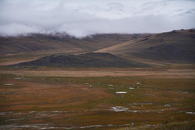 Kaltes wolkiges wetter im steppengebiet. die ukok-hochebene von altai