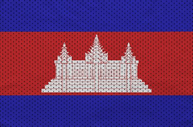 Kambodscha-flagge auf sportswear-netzgewebe aus polyester-nylon