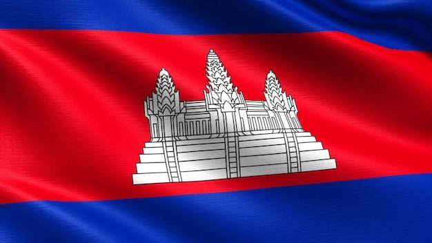 Kambodscha flagge, mit wehenden stoff textur