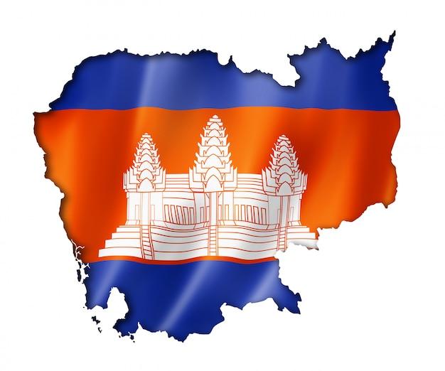 Kambodschanische flaggenkarte