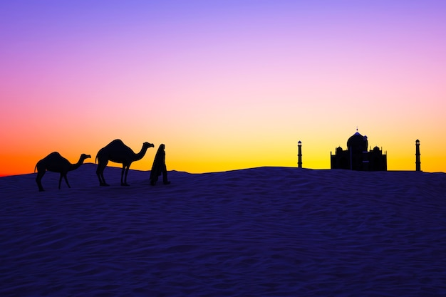 Kamele in der wüste bei sonnenuntergang silhouetten von kamelen und einem mann, der auf dem sand geht
