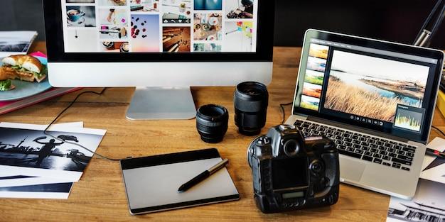 Kamera-fotografie-design-studio, das konzept redigiert