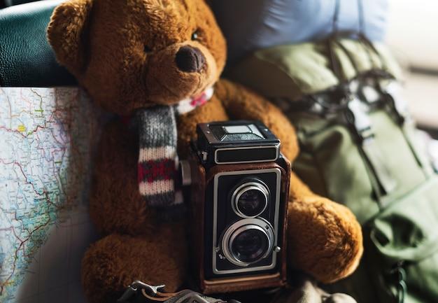 Kamera-weinlese-karten-foto-standort-art-konzept