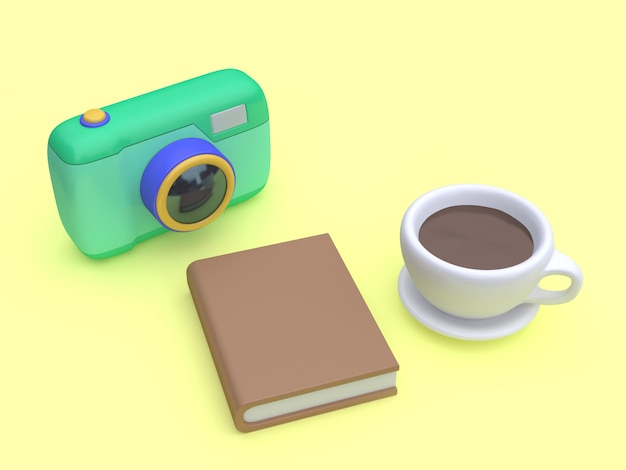 Kamerabuch-kaffeetasse-draufsichtgelb 3d der karikatur 3d übertragen