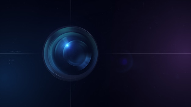 Kameraobjektiv mit linsenreflexionen. 3d-rendering