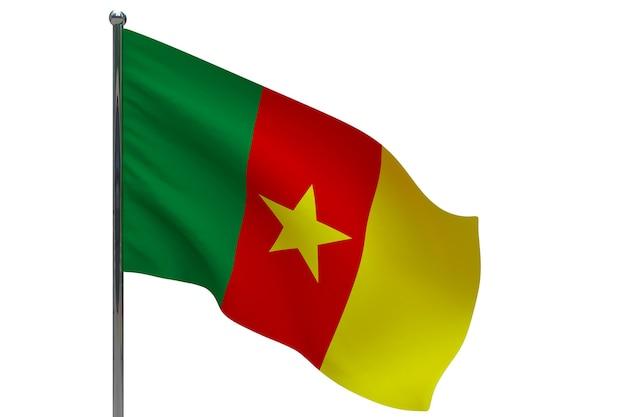 Kameruner flagge auf der pole. fahnenmast aus metall. nationalflagge von kamerun 3d-illustration auf weiß