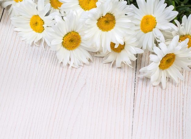 Kamillenblüten auf holz