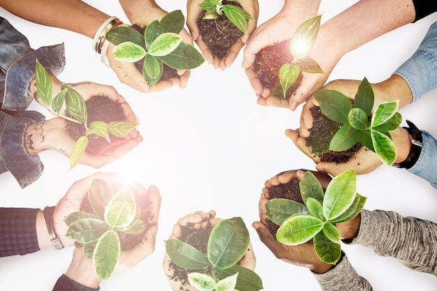 Kampagne zum tag der erde mit den händen der umweltschützer bei pflanzen