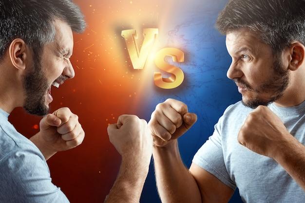 Kampf, nahaufnahmen von männern, die auf einen kampf vorbereitet sind. selbstgrabendes gewissen argumentiert argument konfrontationskrieg.