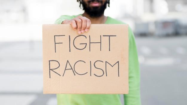 Kampf rassismus zitat schwarze leben materie konzept medium shot