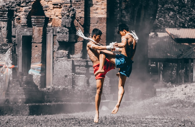 Kampfkünste von muay thai, thailändisches boxen, muay thai