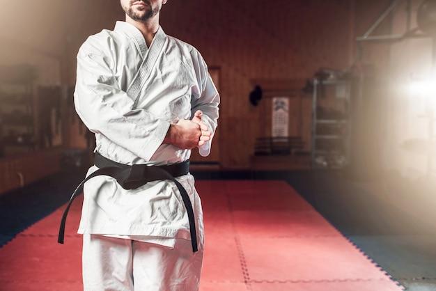 Kampfkunst, kämpfer im weißen kimono, schwarzer gürtel