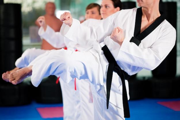 Kampfkunstsporttraining in der turnhalle