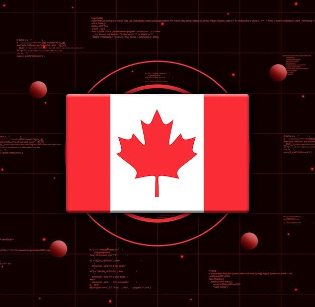 Kanada-flagge mit realistischen technologieelementen, 3d-rendering