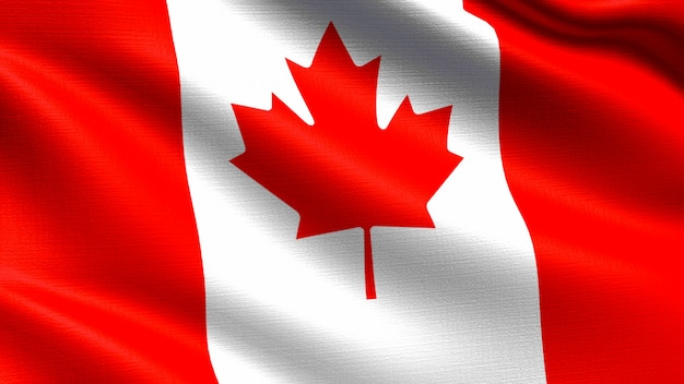 Kanada-flagge, mit wellenartig bewegender gewebebeschaffenheit