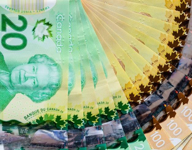 Kanadische banknoten von zwanzig und hundert dollar