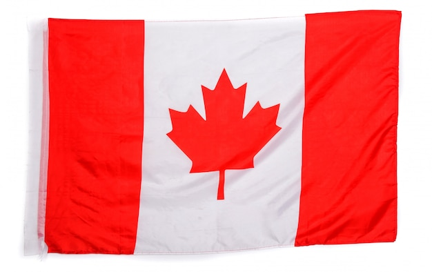 Kanadische flagge auf weiß