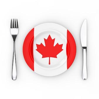 Kanadisches essen oder küche-konzept. gabel, messer und teller mit kanada-flagge auf weißem hintergrund. 3d-rendering