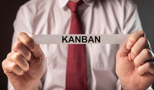 Kanban oder schlanke methode im managementkonzeptwort auf papier in den händen des geschäftsmannes