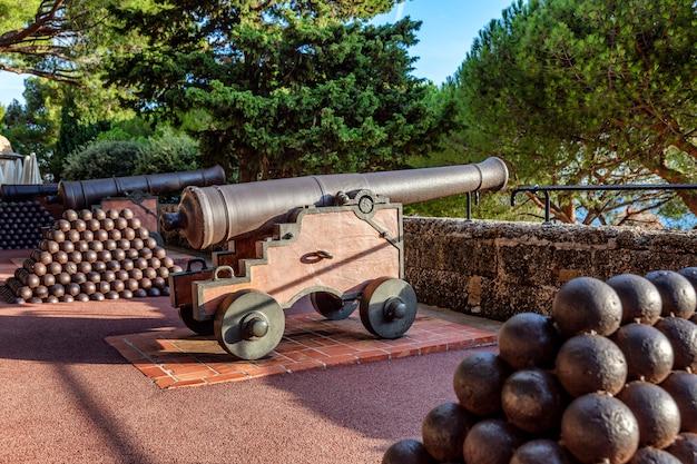 Kanonen mit wunderschön angelegten hügelkernen im garten des fürstenpalastes.
