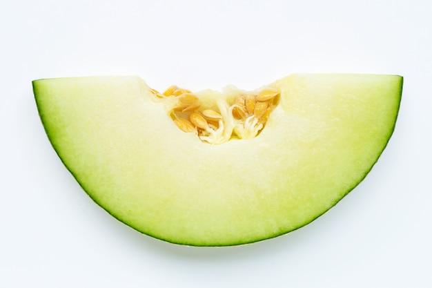 Kantalupenmelone lokalisiert auf weiß.