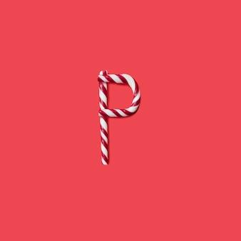 Kappen süßigkeiten und zucker schrift. buchstabe p.