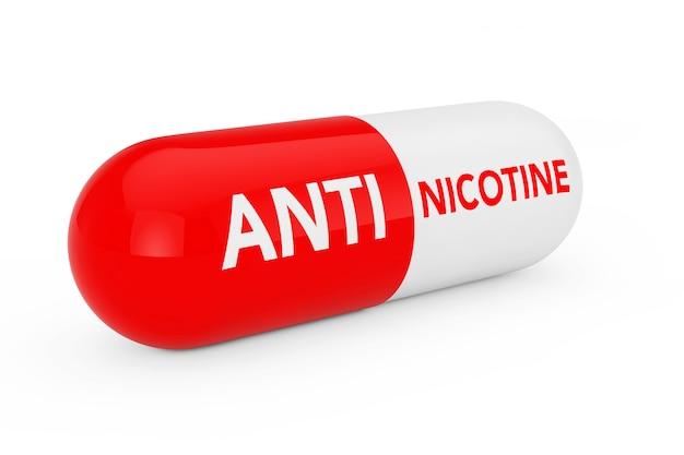 Kapsel-pille mit anti-nikotin-seufzer auf weißem hintergrund. 3d-rendering
