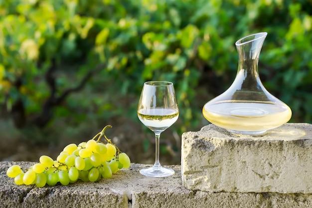Karaffe, ein glas weißwein und trauben draußen natur